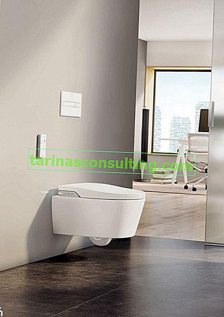Eine Waschtoilette, der Nachfolger der traditionellen Toilettenschüssel und des Bidet