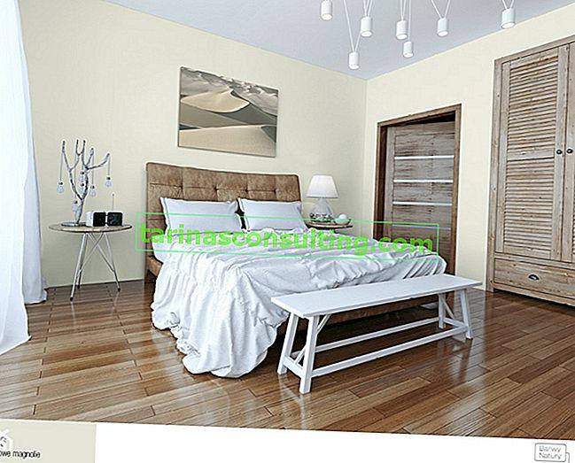 Una camera da letto suggestiva nei colori grigio e marrone